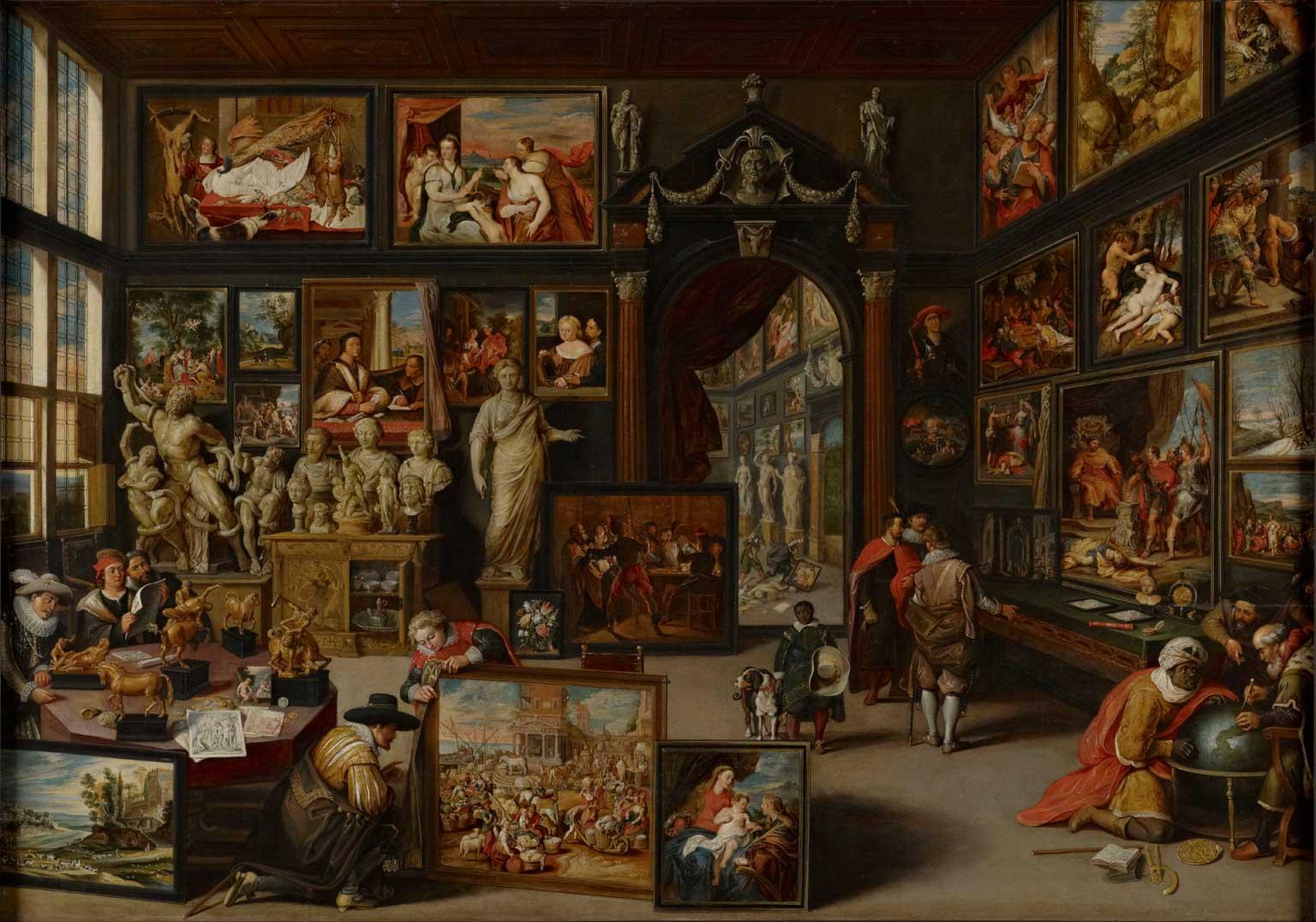 Willem van Haecht: Gabinete de Arte com o Casamento Místico de Sta. Catarina de Anthony van Dyck. 1630.