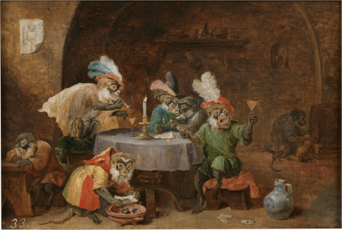 David_Teniers_(II)_-_Smoking_and_drinking_monkeys.C. 1660