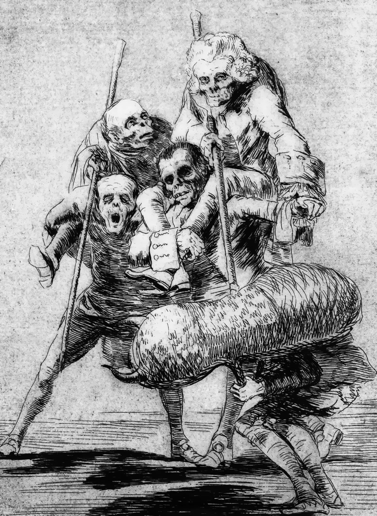 Francisco Goya. Now One, Now Another, Los Caprichos plate 77 (1799)