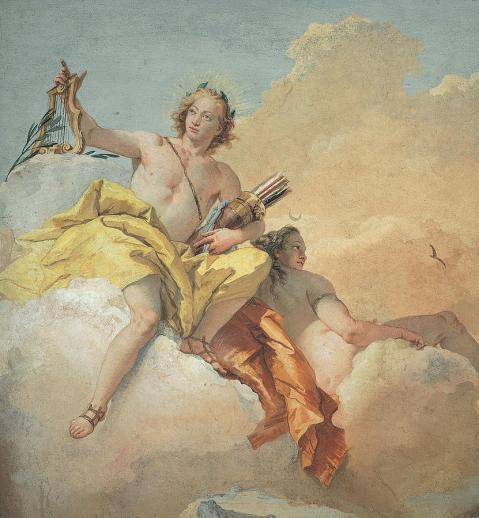 """Giovanni Battista Tiepolo """"Apollo and Diana"""" fresco 1757 (detail) Villa Valmarana, Vicenza"""