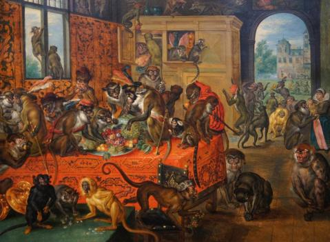 Jan Brueghel the Elder. Festim de Macacos. 1620's