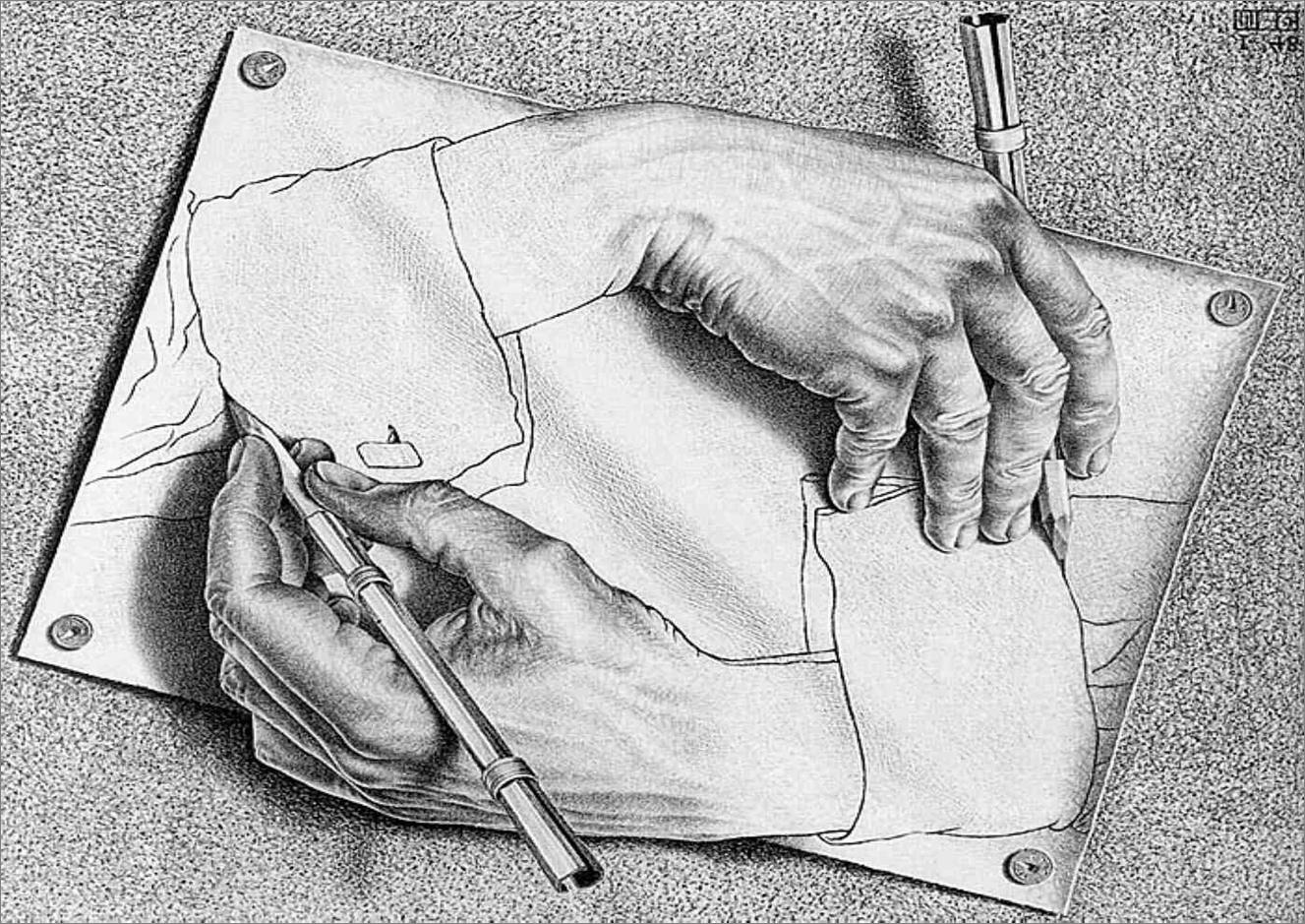M.C. Escher. Mãos. 1948.