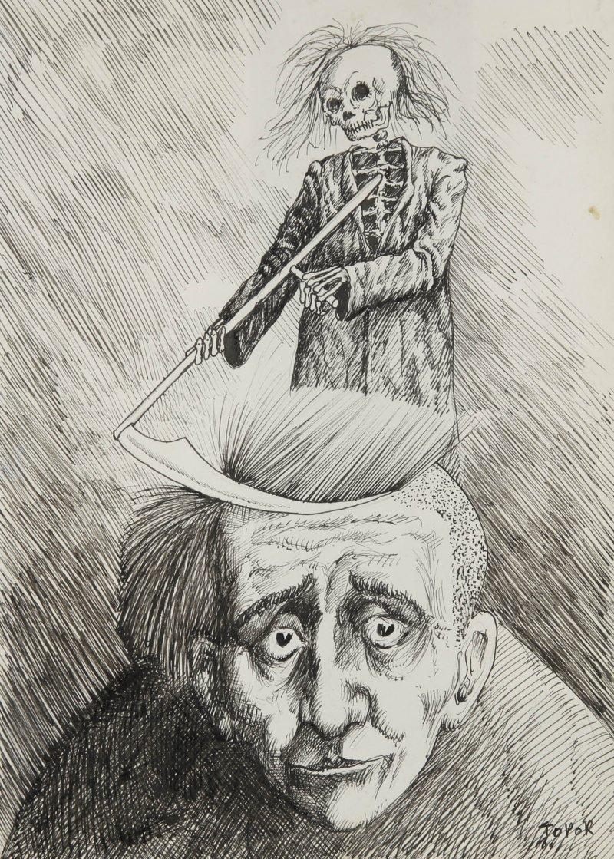 Roland Topor (Français, 1938.2997. Autoportrait présumé à la faucheuse