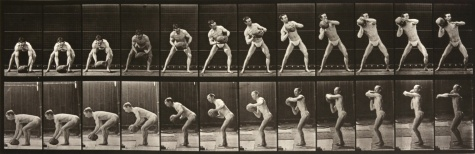 4. Eadweard Muybridge. Animal Locomotion. Plate 318. Man Lifting Ball to his Shoulder. 1887.