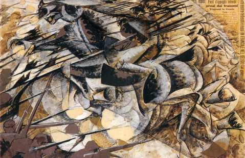 The Charge of the Lancers (1915), by Umberto Boccioni
