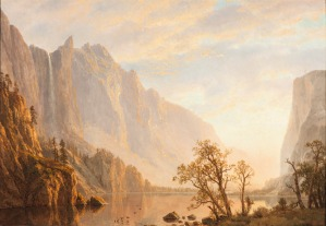 01. Albert Bierstadt. Western Landscape, Mountain Scene and River. 1864.