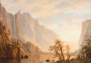 01. Albert Bierstadt. Western Landscape, Mountain Scene and River. 1864.