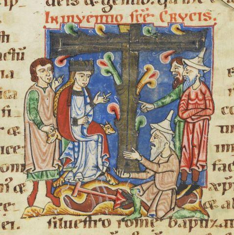 01. Unknown, Inuentio sanctae Crucis, Illumination from the Passionary of Weissenau (Weißenauer Passionale) (1170-1200), Codex Bodmer 127, fol. 53v
