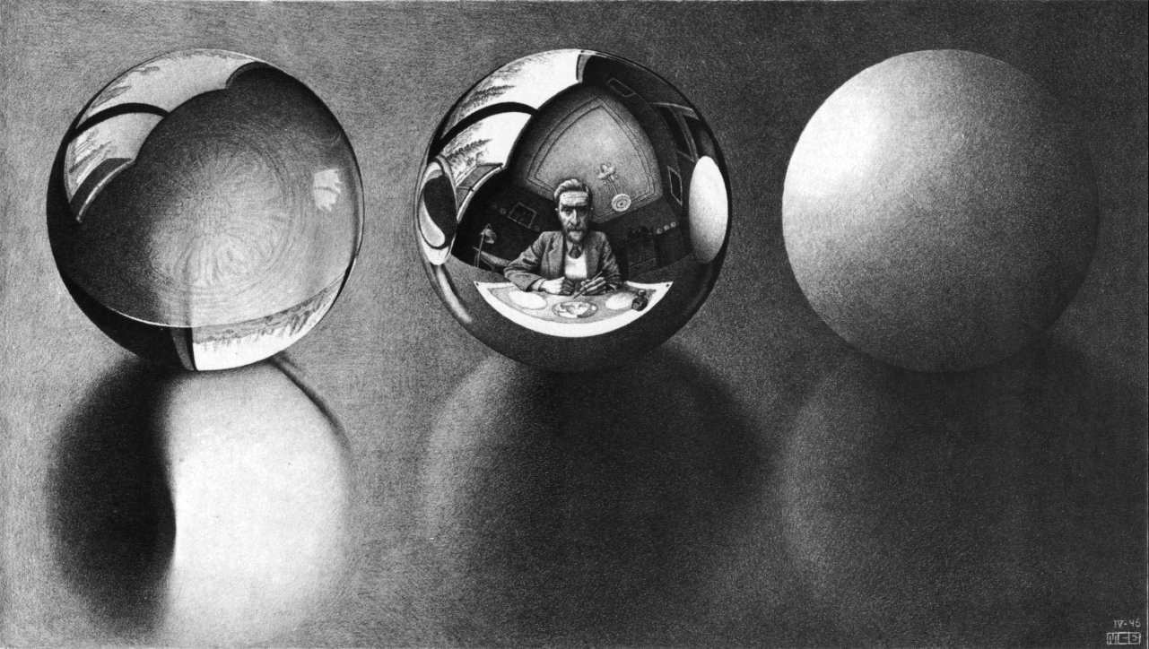 M.C. Escher.Three Spheres II. 1946